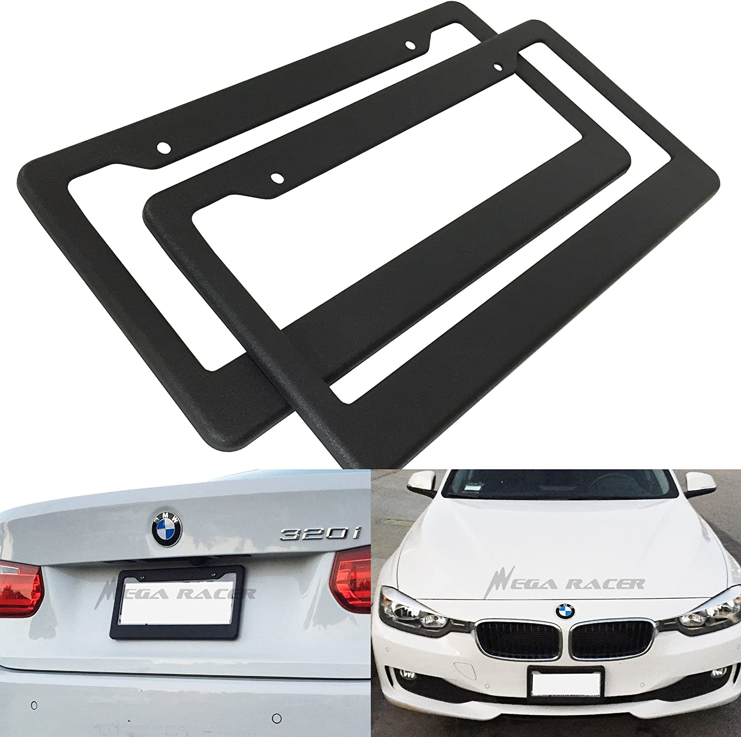 Mega Racer Pack of 2 JDM Style Matte Black License Plate Frame Front and Rear Cover Holder Tag US Auto Car Sedan Truck SUV RV Van