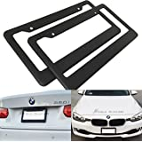 (Set of 2) JDM Style Matte Black License Plate Frame (Front and Rear) Plastic Cover Holder Tag Auto Car Truck SUV RV Van