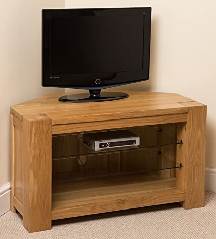 Kuba Chunky Solid Oak Wood Glass Corner TV Hi Fi Cabinet Stand Unit, (