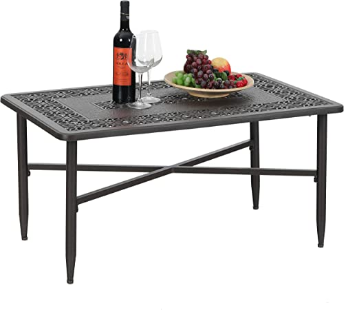 PHI VILLA Outdoor Patio Cast Aluminum 38.6 x23 Rectangular Coffee Table – Frosted Surface