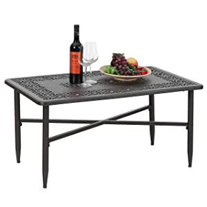 """PHI VILLA Outdoor Patio Cast Aluminum 38.6""""x23"""" Rectangular Coffee Table - Frosted Surface"""