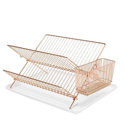 Simplywire – Escurreplatos plegable – Durable plato escurridor con soporte para cubiertos cesta – Cobre