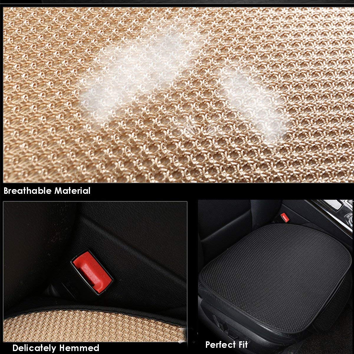 Gray C 2pc CHIAE New Cushion Summer Cool Breathable Non-Slip car seat Cover Office Home seat Cushion
