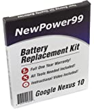 Google Nexus 10 Battery Replacement Kit with Video Installation DVD, Installation Tools, and Extended Life Battery