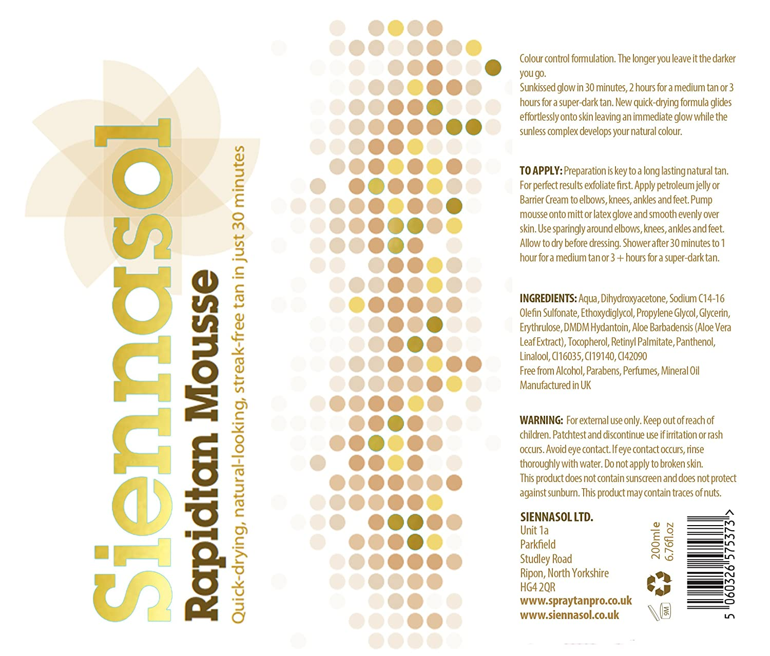 Siennasol Rapidtan 30 Minute Tanning Mousse Last Minute Night Out Just  Apply, And Shower Off