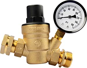 RVGUARD RV Water Pressure Regulator Valve, Brass Lead-Free Adjustable Water Pressure Reducer with Gauge and Inlet Screened Filter for RV Camper Travel Trailer