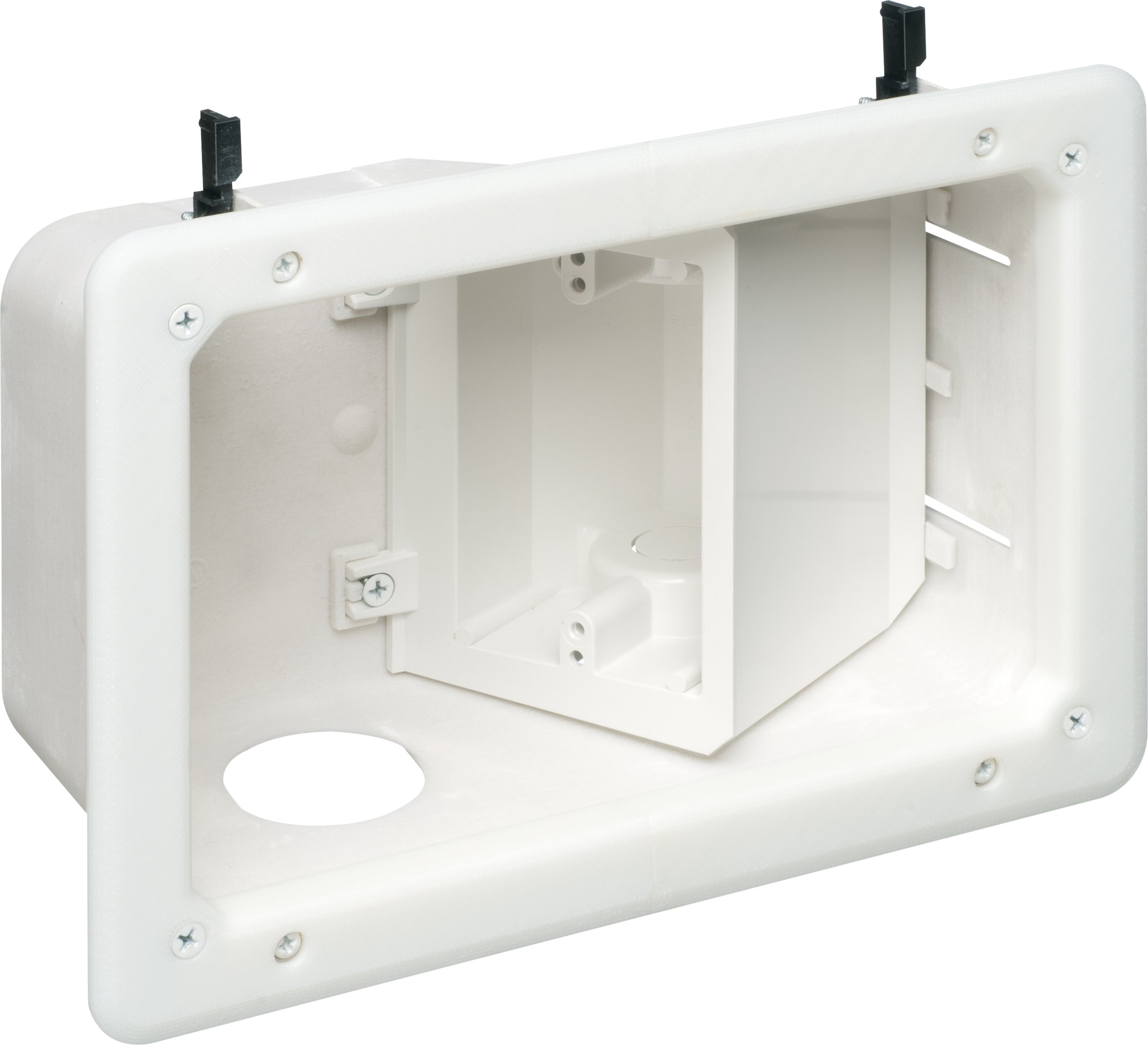 Arlington Industries TVB712 2-Gang Angled TV Box Recessed Outlet Wall Plate Kit, White, 1-Pack by Arlington Industries