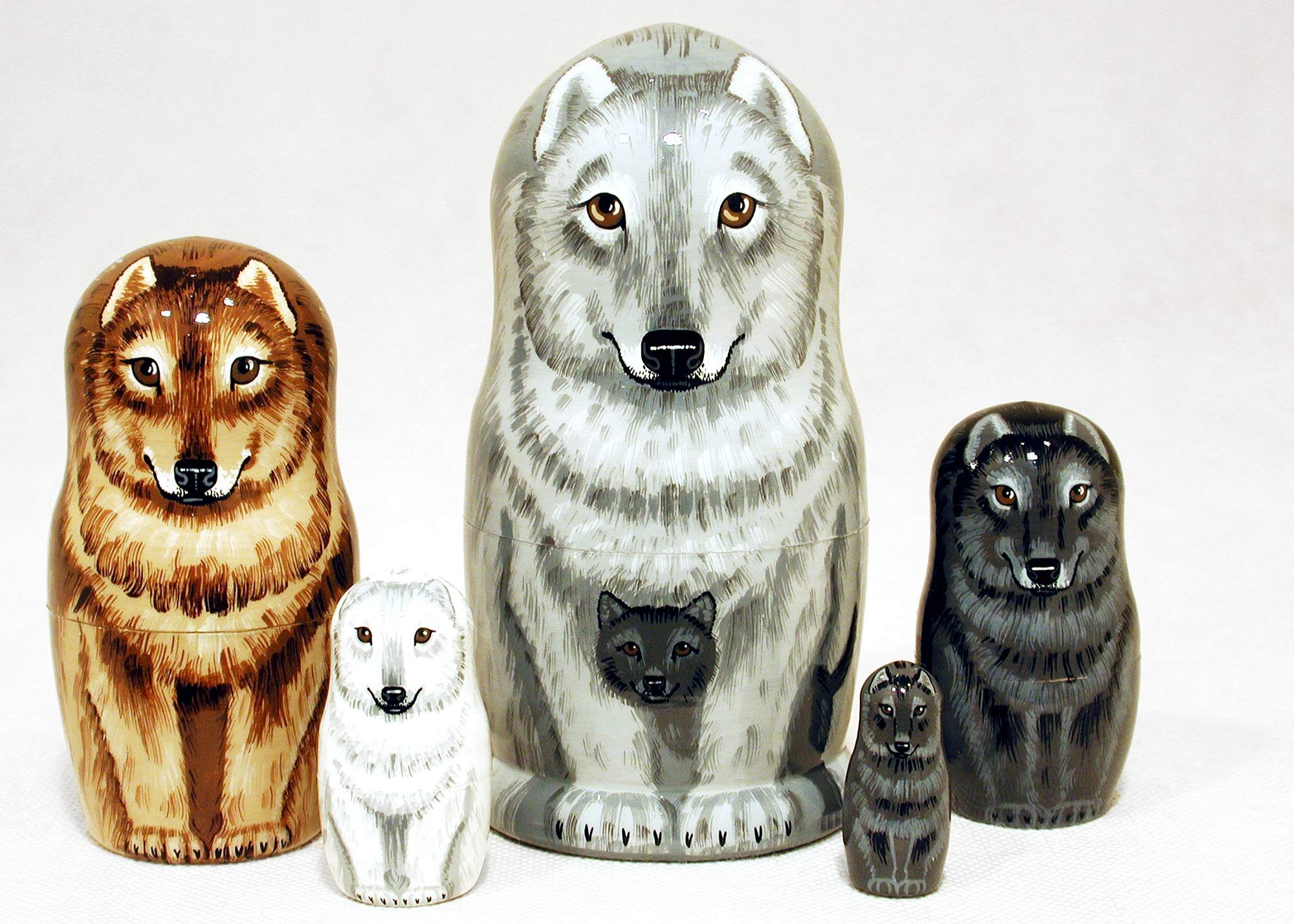 Wolf Family Nesting Doll 5pc/6'' by Golden Cockerel (Image #1)