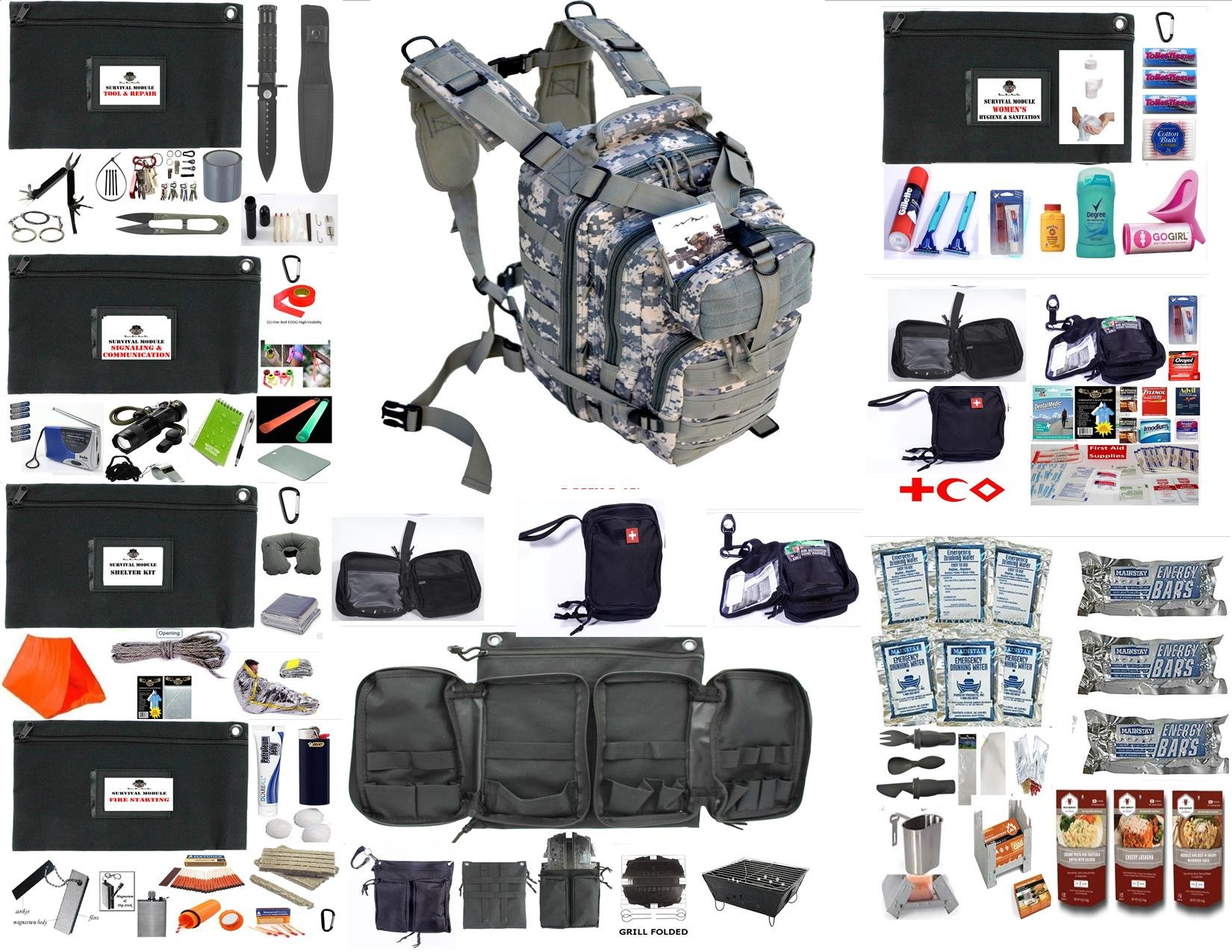 EDOG Women's Emergency Preparedness Disaster 72 Hr Backpack & Modules | Food & Water | Shelter | Fire Starting | Tool & Repair | First Aid | Signaling & Radiio | Hygiene & Sanitation (ACU, WOMEN'S)