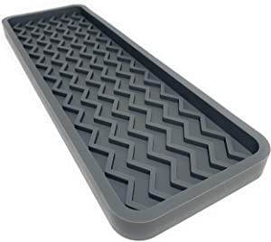 Silicone Kitchen Sink Organizer Tray, 12 inches x 4 inches, 9.2 ounces (COOL GREY)