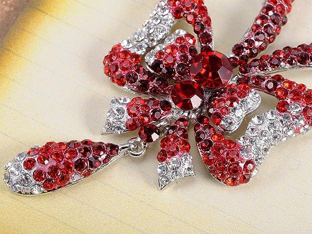 Glamorousky Elegant Leaf Brooch with Silver Austrian Element Crystal 413