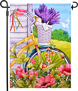 LAYOER Burlap home garden flag 12.5x18 inch double sided bicycle lavender basket Blooms Butterflye flowers spring summer outdoor indoor decoration banner