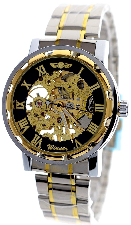 新しいブランドモールメンズスケルトンダイヤルステンレススチールストラップhand-wind Mechanical Watch (ゴールド) B01FQVVMIG