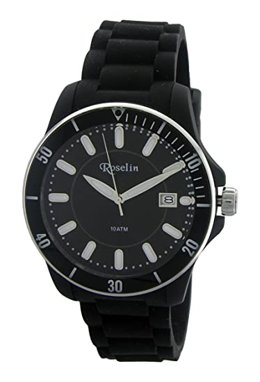 Roselin, correa silicona negro, caja acero, calendario, 10 ATM: Amazon.es: Relojes