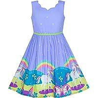 Sunny Fashion Vestido para niña Morado Girasol Verde Hojas Mariposa 4-12 años