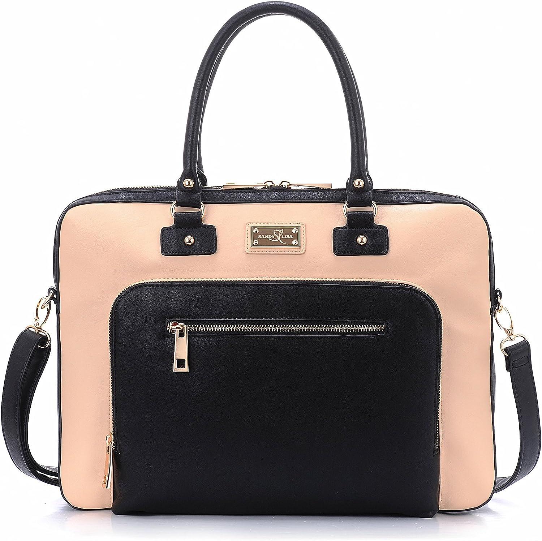 "Sandy Lisa SLLDN-CRBK-14 London Notebook Carrying Case 15.6"", Cream, Black/Cream"