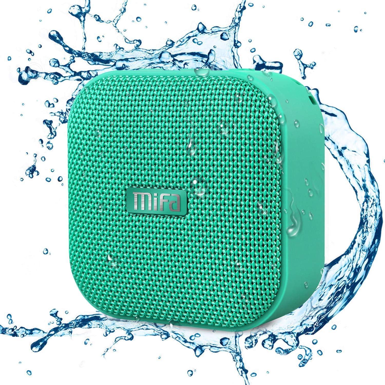 MIFA Mini Altavoz Portátil Bluetooth 4.2 Impermeable IP56 y Tecnología TWS & DSP, Anti-Polvo con 15 Horas Continua y Tarjeta de microSD, Micrófono Incorporado para iPhone, iPad, Huawei, XiaoMi, Ve