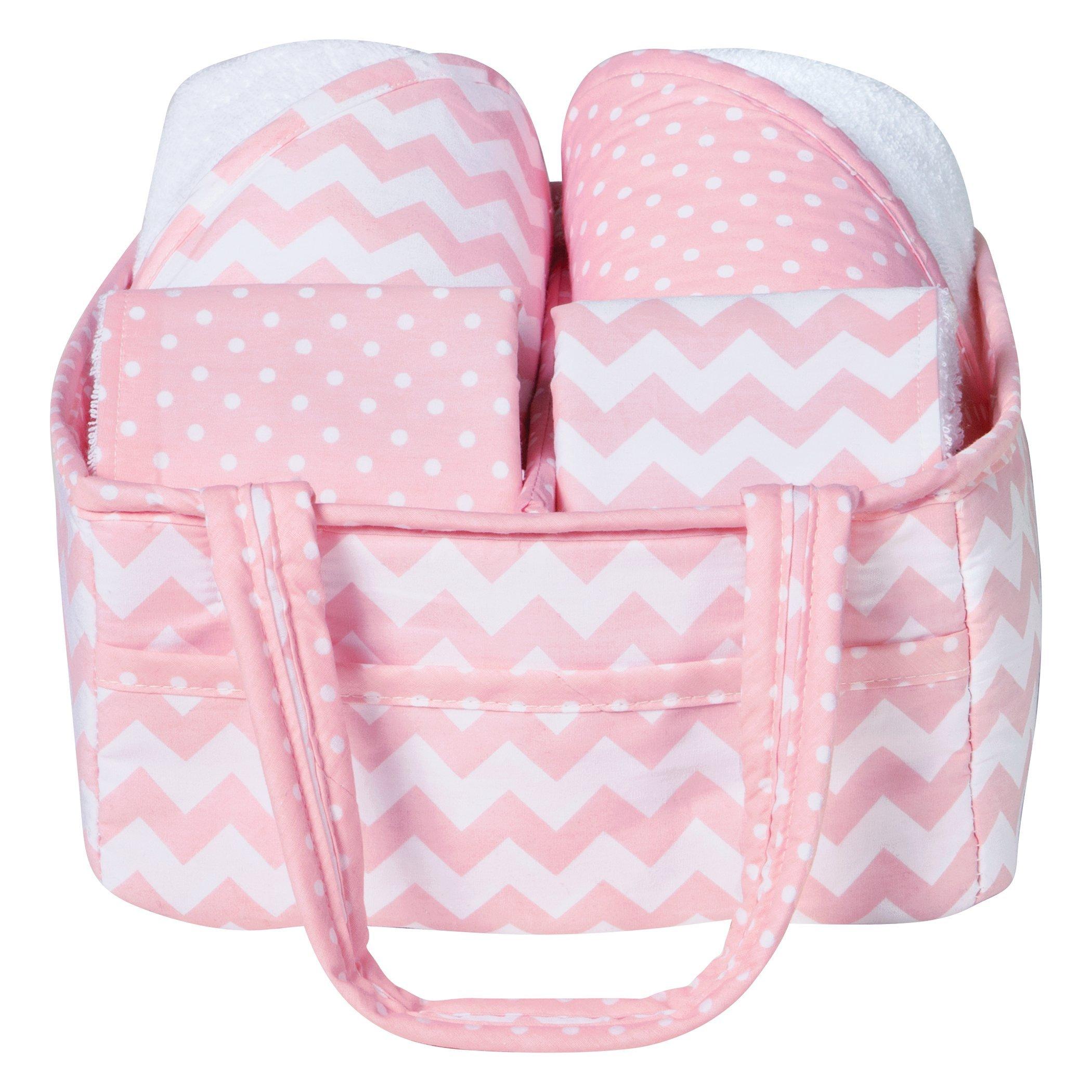 Trend Lab 5 Piece Baby Bath Gift Set, Pink Sky