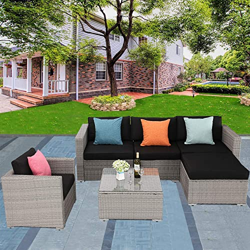 Furnimy 6 Pieces Outdoor Patio Conversation Set Wicker Sofa Gray Rattan with Glass Top Table and Black Seat Cushions for Porch, Garden, Backyard, Lawn and Balcony