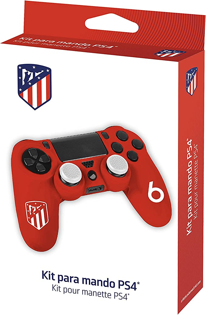 Funda protectora de silicona para mando PS4 - Carcasa blanda antideslizante con Thumb grips caps de precisión para joysticks – Accesorios videojuegos con licencia oficial Atlético de Madrid: Amazon.es: Videojuegos