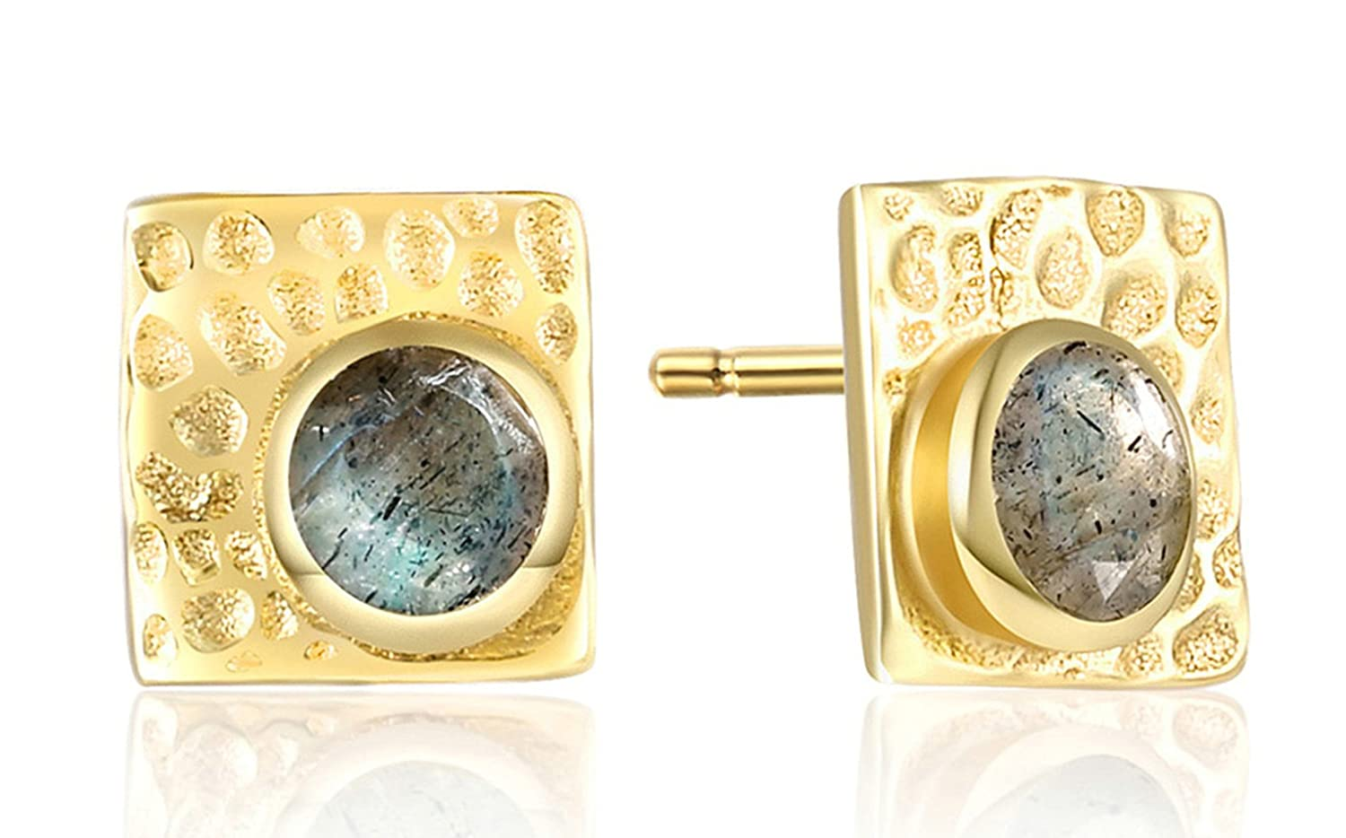 Gnzoe 925 Sterling Silver Stud Earrings for Women Square Design with Shiny Stone Gold Earring