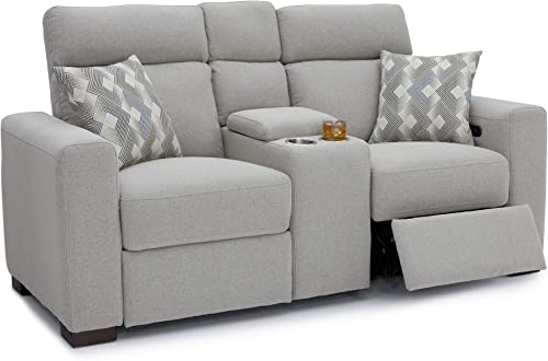 Seatcraft Capital Home Theater Seating Performance Fabric Power Recline Sofa with Adjustable Powered Headrests, Center Storage Console with Cup Holders, Matching Pillows, Light Grey