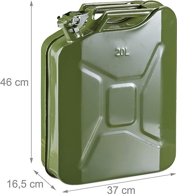 Relaxdays Benzinkanister 20 Liter Reservekanister Benzin Diesel Auslaufsicher Tragegriff Kanister Metall Olivgrün Auto