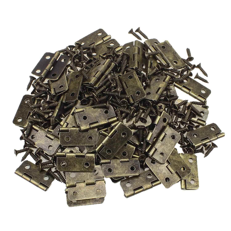 Dreamtop 60 piezas de bronce antiguo Mini gabinete caj/ón Butt bisagras Conectores con 240 piezas de repuesto lat/ón bisagra tornillos