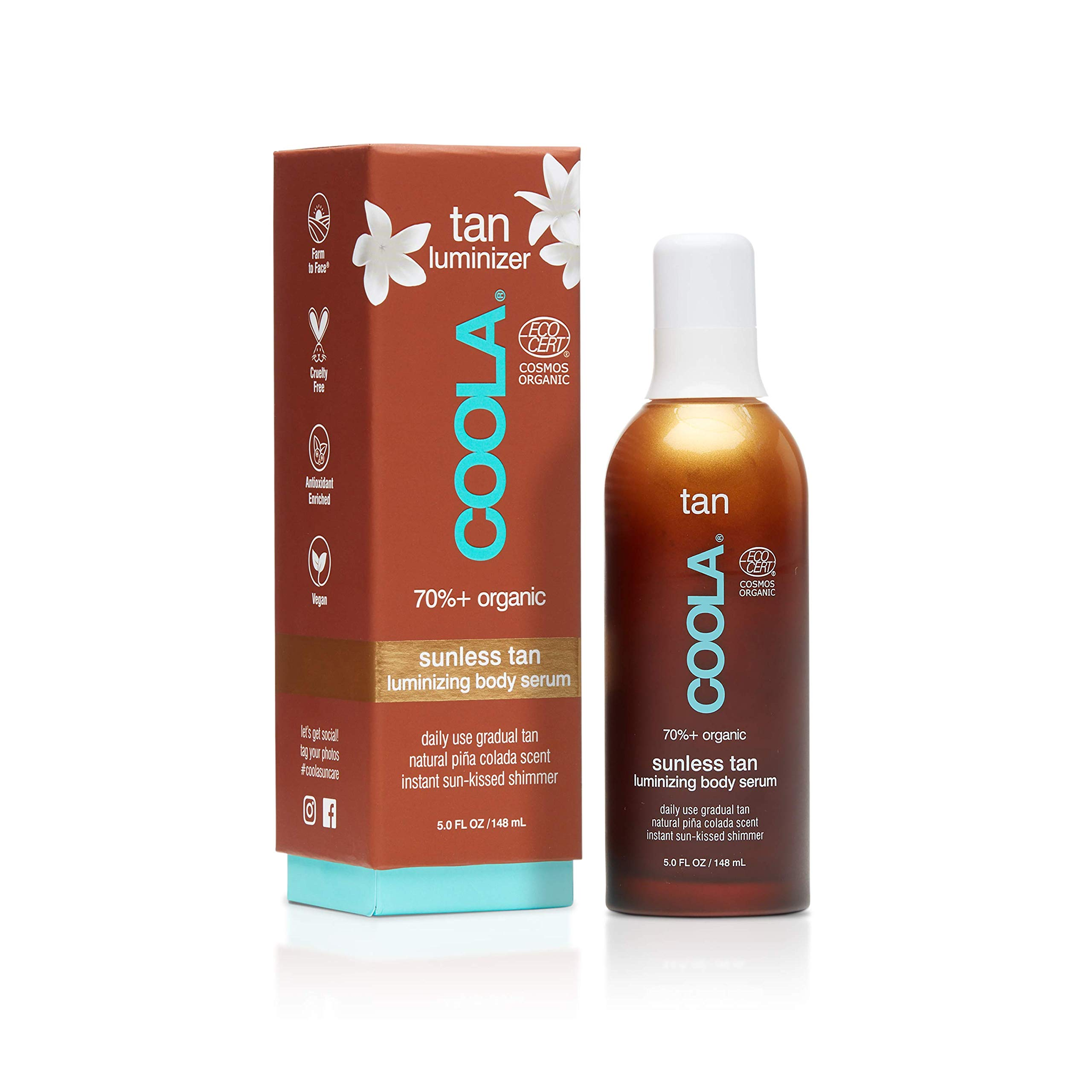 COOLA Organic Sunless Tan Luminizing Body Serum | Instant Shimmer | Certified Organic Ingredients | Transfer-Free | Fast Drying | Pina Colada
