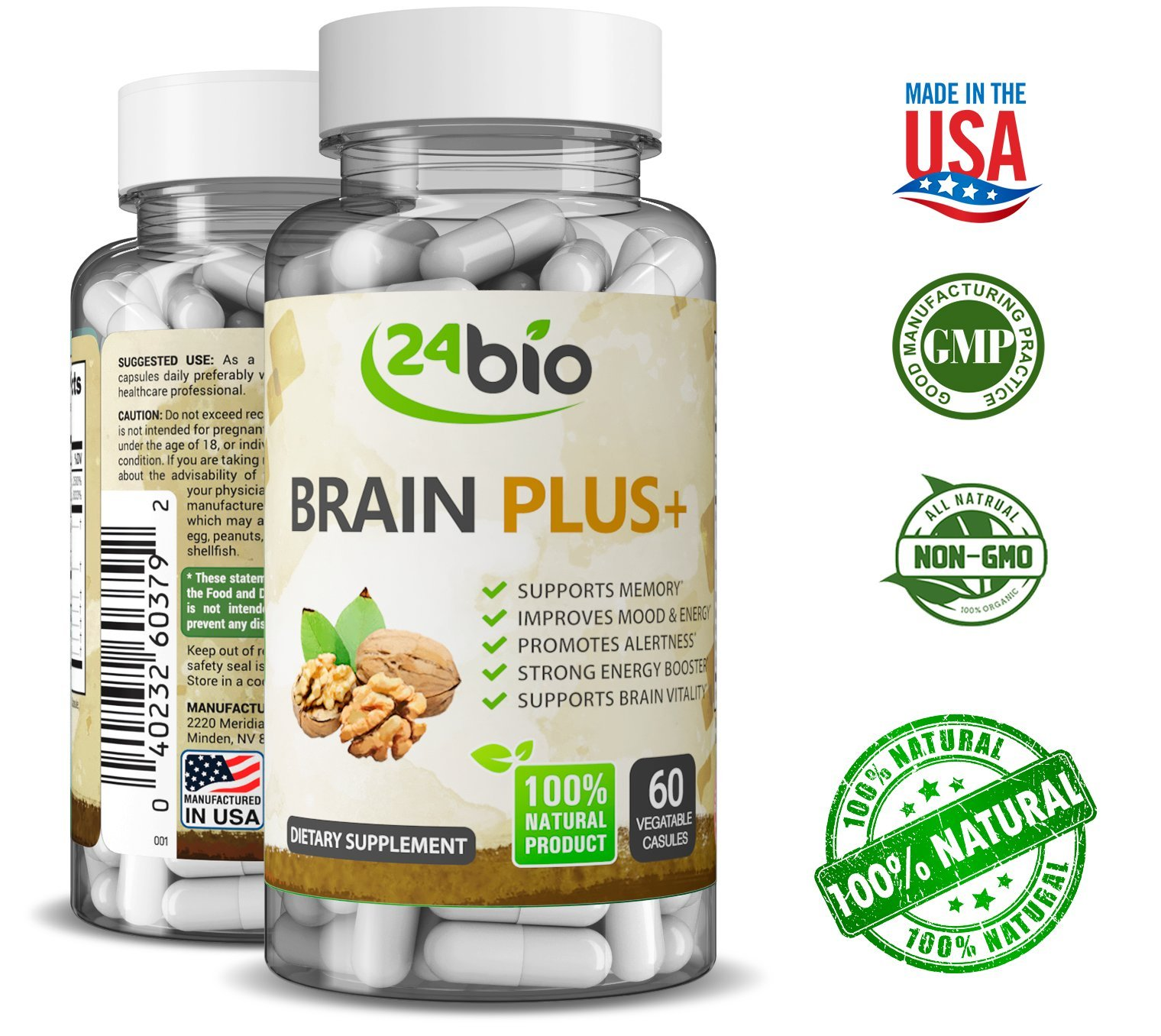 24bio Brain Food Complex – Natural Brain Booster Supplement for better memory, focus, mood- promotes concentration, cognition, clarity – Pills full of Ginkgo Biloba, Guarana, DMAE, Bacopa Monnieri Pow