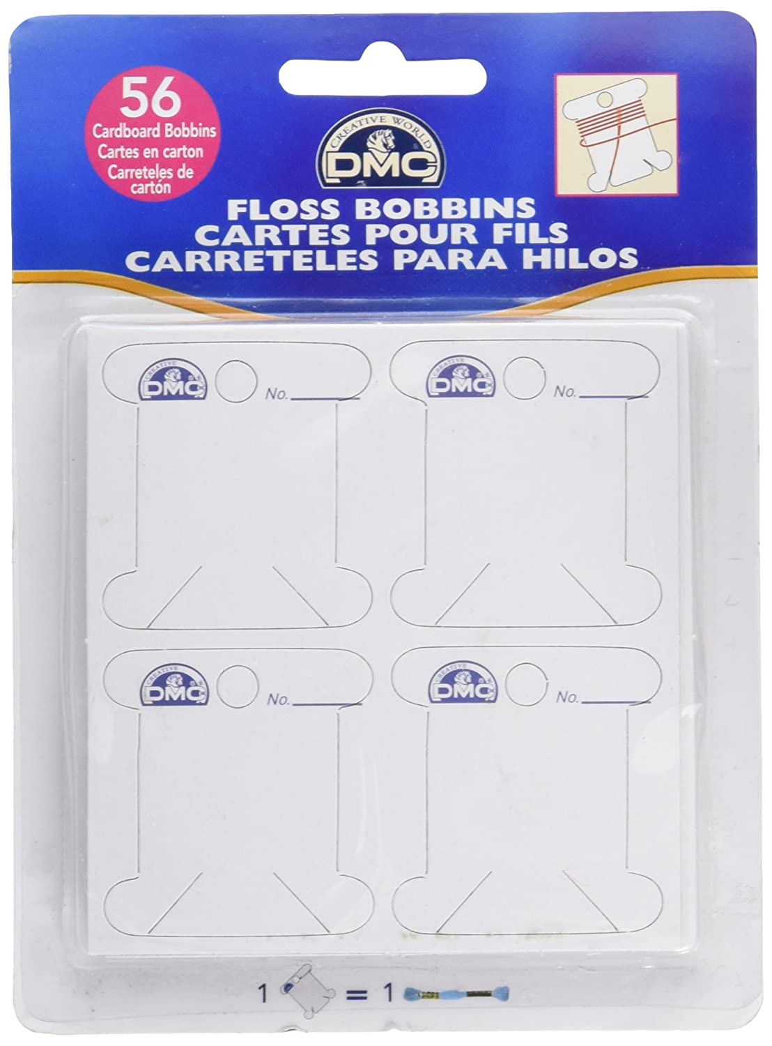 DMC 6101 Cardboard Floss White Bobbins, 56-Pack