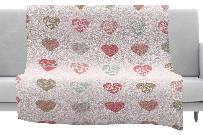 Kess InHouse afe Images Pastel Hearts Pattern Pink Red Illustration Throw 40 x 30 Fleece Blanket