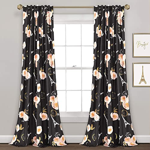 Lush Decor Black Vintage Paris Rose Butterfly 2-Piece Window Curtain Panel Set, Long Floral Polyester Themed Pattern 84 x 52