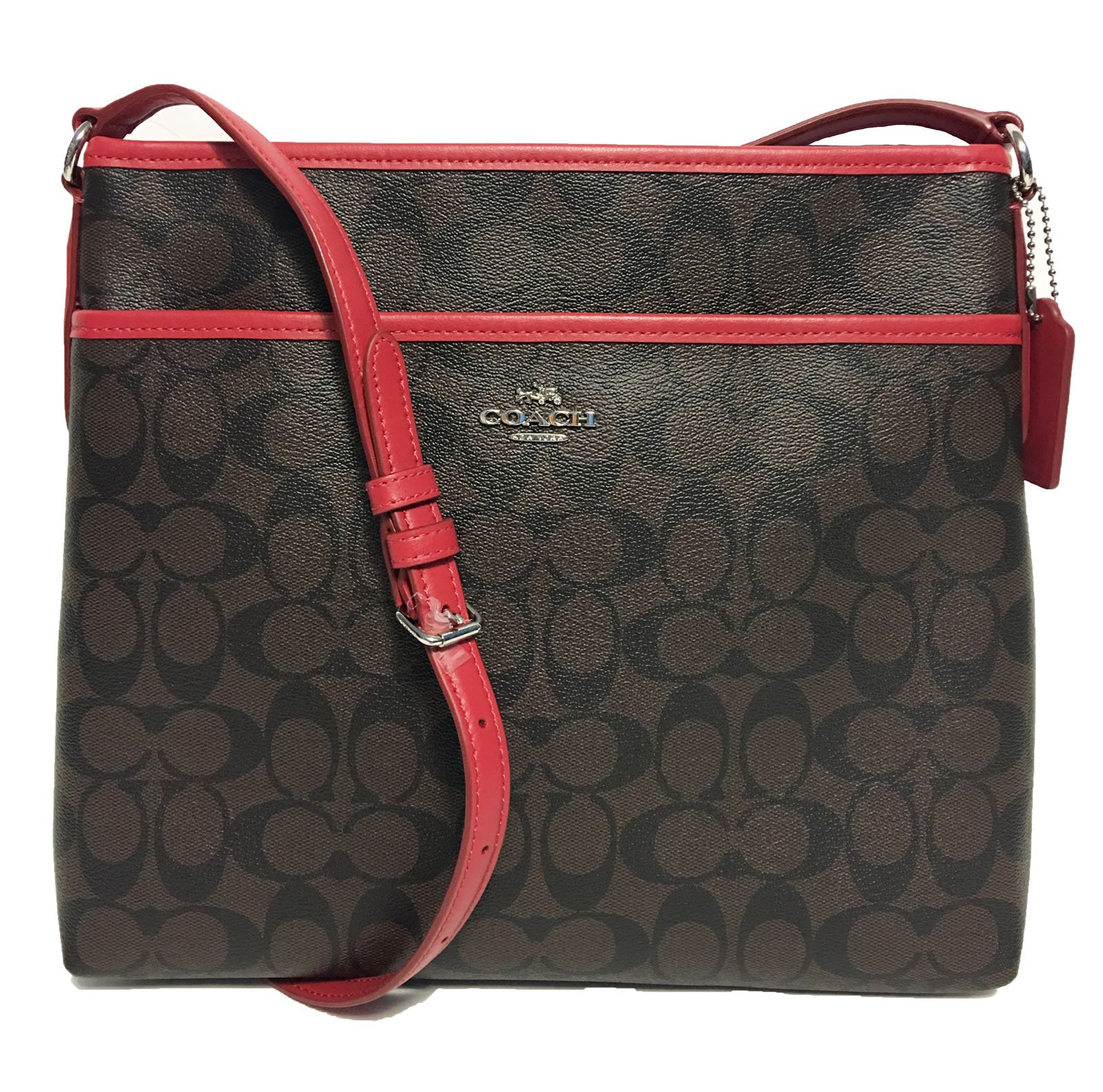 Coach Signature File Crossbody Bag (SV/Brown/True Red)
