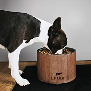 Stig & Bone Dog Bowls for Large Dogs – Elevated with Stand - Modern American Walnut Wood, Durable Stainless Steel – Raised Dog Feeder for Food and Water (Single Bowl)