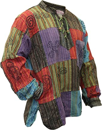 SHOPOHOLIC FASHION Hombre Prelavado Bloqueado Camisa Hippie