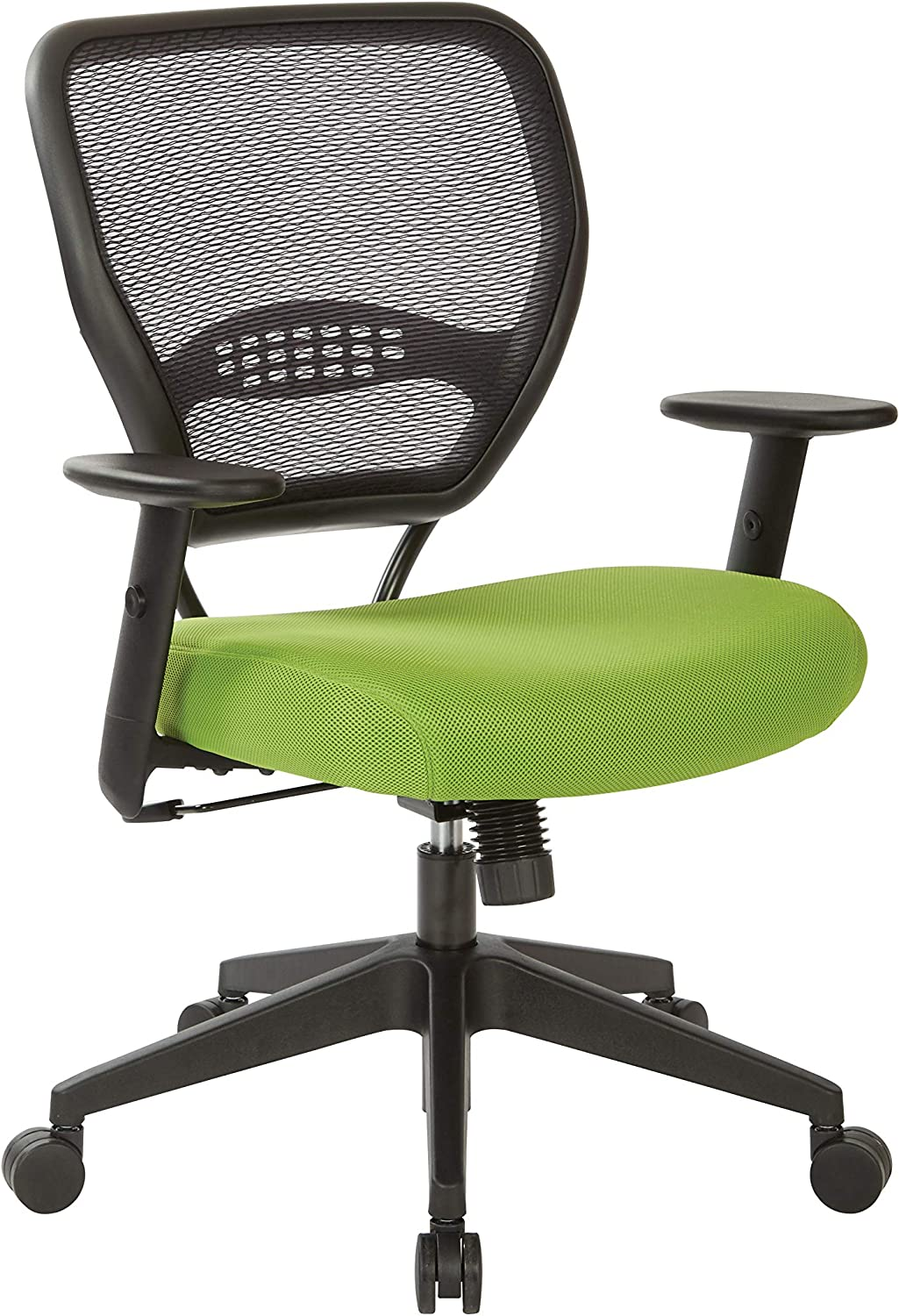 Office Star 55 Series Professional Dark Air Grid Back Office Desk Chair with Built-in Lumbar Support, Tilt Control, Adjustable Height and Arms, Green Mesh