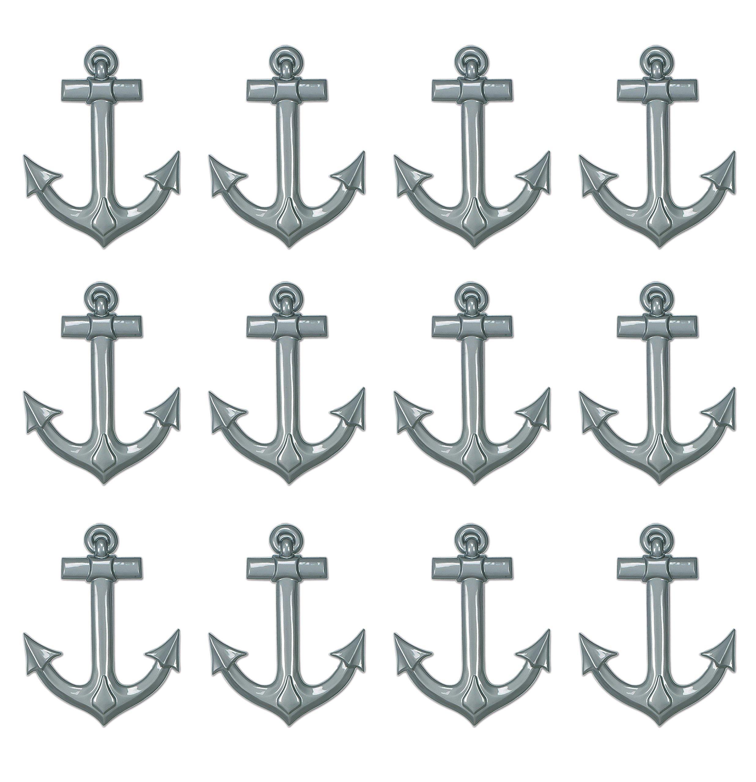 Beistle S55501AZ12 12 Piece Plastic Ship's Anchors, 25'', Gray
