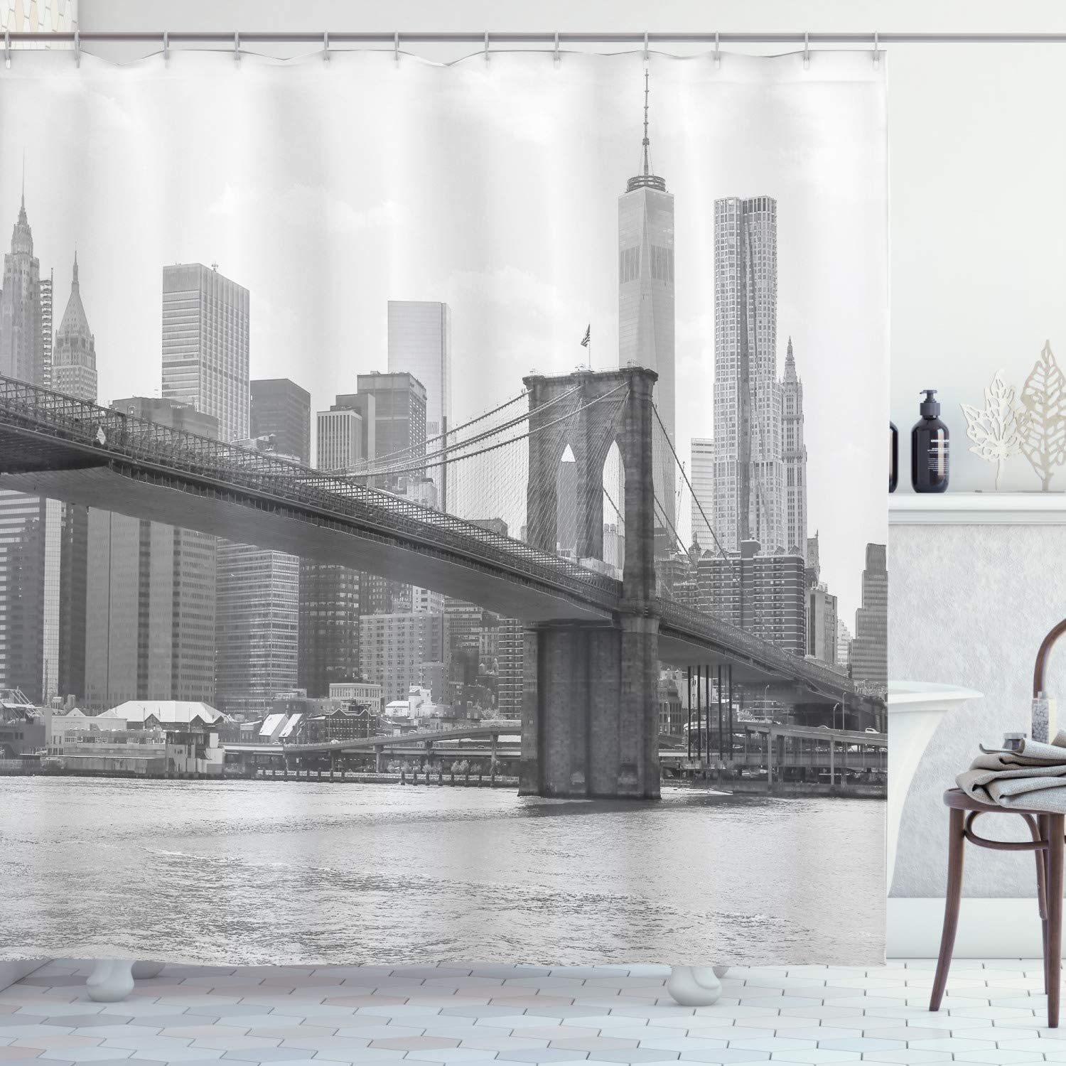 """Ambesonne Landscape Shower Curtain, Photo of Brooklyn Bridge Over East River and Tall Buildings Skylines at The Back, Cloth Fabric Bathroom Decor Set with Hooks, 75"""" Long, Gray White"""