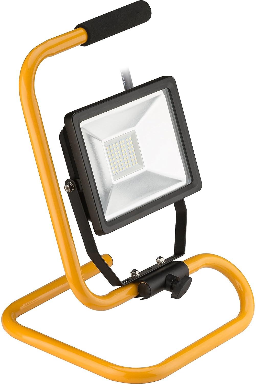 Goobay 20W LED Baustrahler auf Teleskopstativ, Zink, 20 W, Schwarz/Gelb [Energieklasse A+] 59007