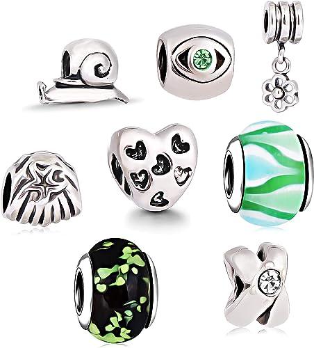 AKKi jewelry Charms pour bracelet Pandora - Breloque en verre de Murano -  Chaîne en argent et perles multicolores