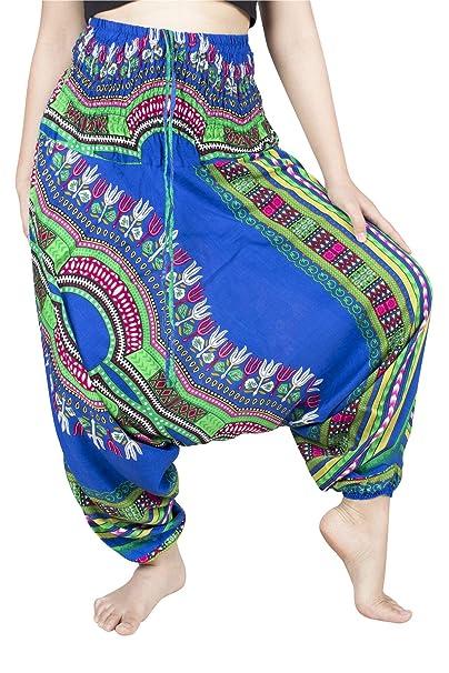 686e15ee07c Lofbaz Women s Smocked Waist Dashiki 2 in 1 Harem Pants Jumpsuit Blue S