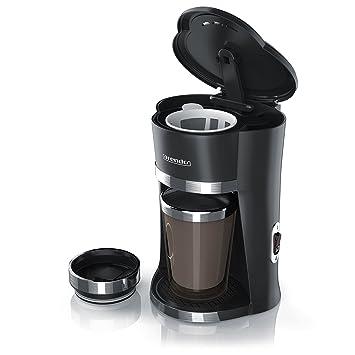 Arendo - OneCup Cafetera rápida para una taza con vaso térmico de 300 ml | potencia