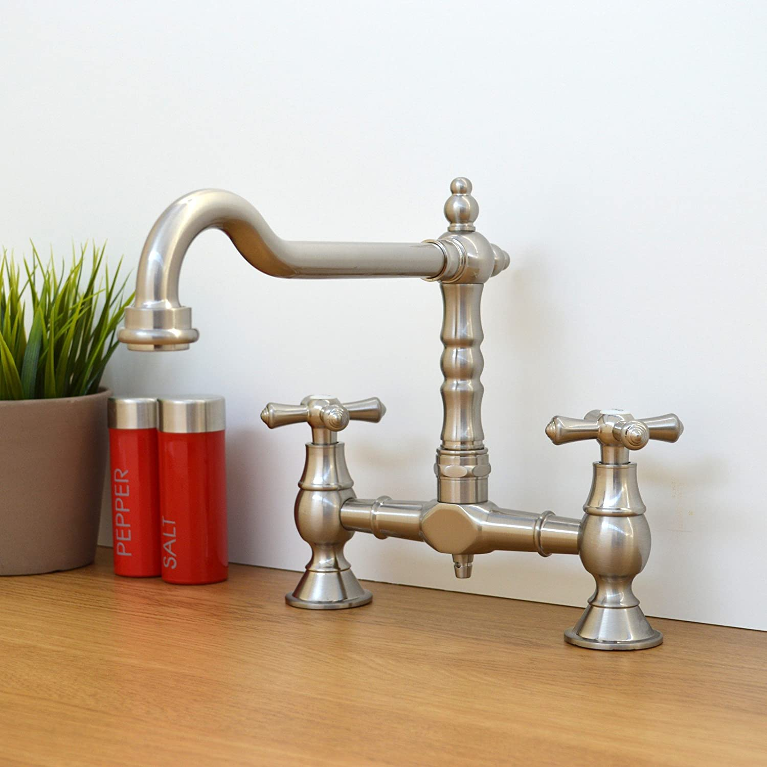 BE colonial kitchen sink ENKI Traditional Colonial Bridge Kitchen Sink Mixer Tap Cross Knobs Handles Brushed Nickel LANGLEY