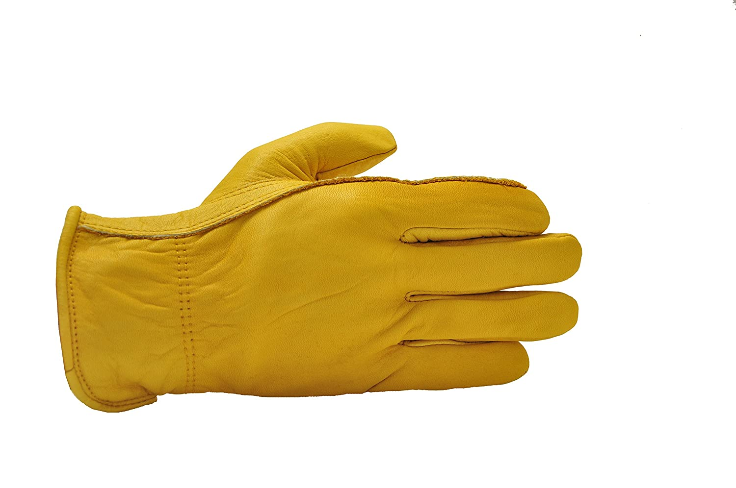 Large Orange GF Gloves 6203L-12 Premium Genuine Grain Cowhide Leather Gloves with Reinforced Patch Palm Pack of 12