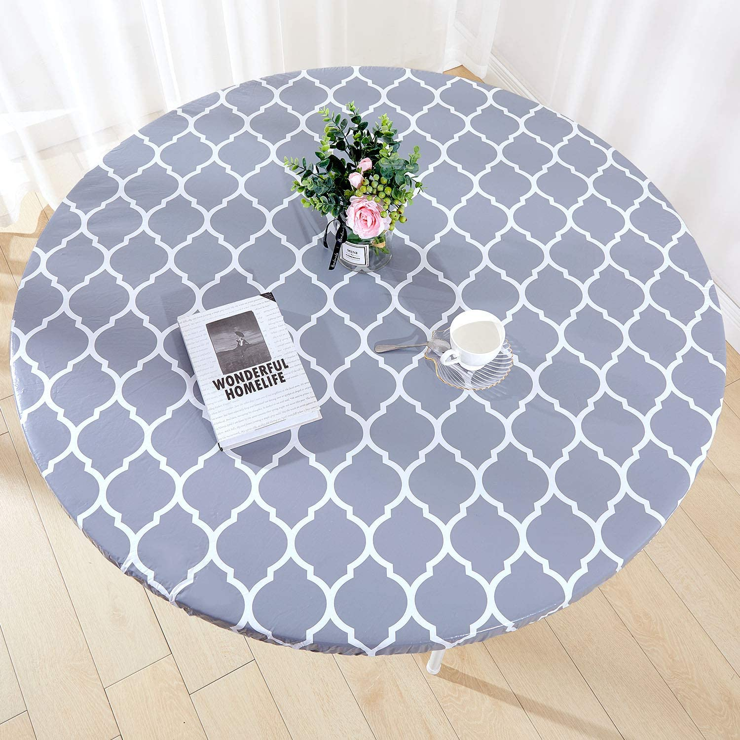 "Zhuqing Heavy Duty Vinyl Round Fitted Tablecloth, Gray Moroccan Design, Spillproof Waterproof Elastic Table Cover with Flannel Backed Lining, Fits 45"" to 56"" Round Table, for Indoor/Outdoor Use"