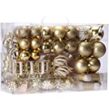 Sea Team 72-Pack Assorted Shatterproof Christmas Balls Christmas Ornaments Set Decorative Baubles Pendants with Reusable Hand-held Gift Package for Xmas Tree (Gold)