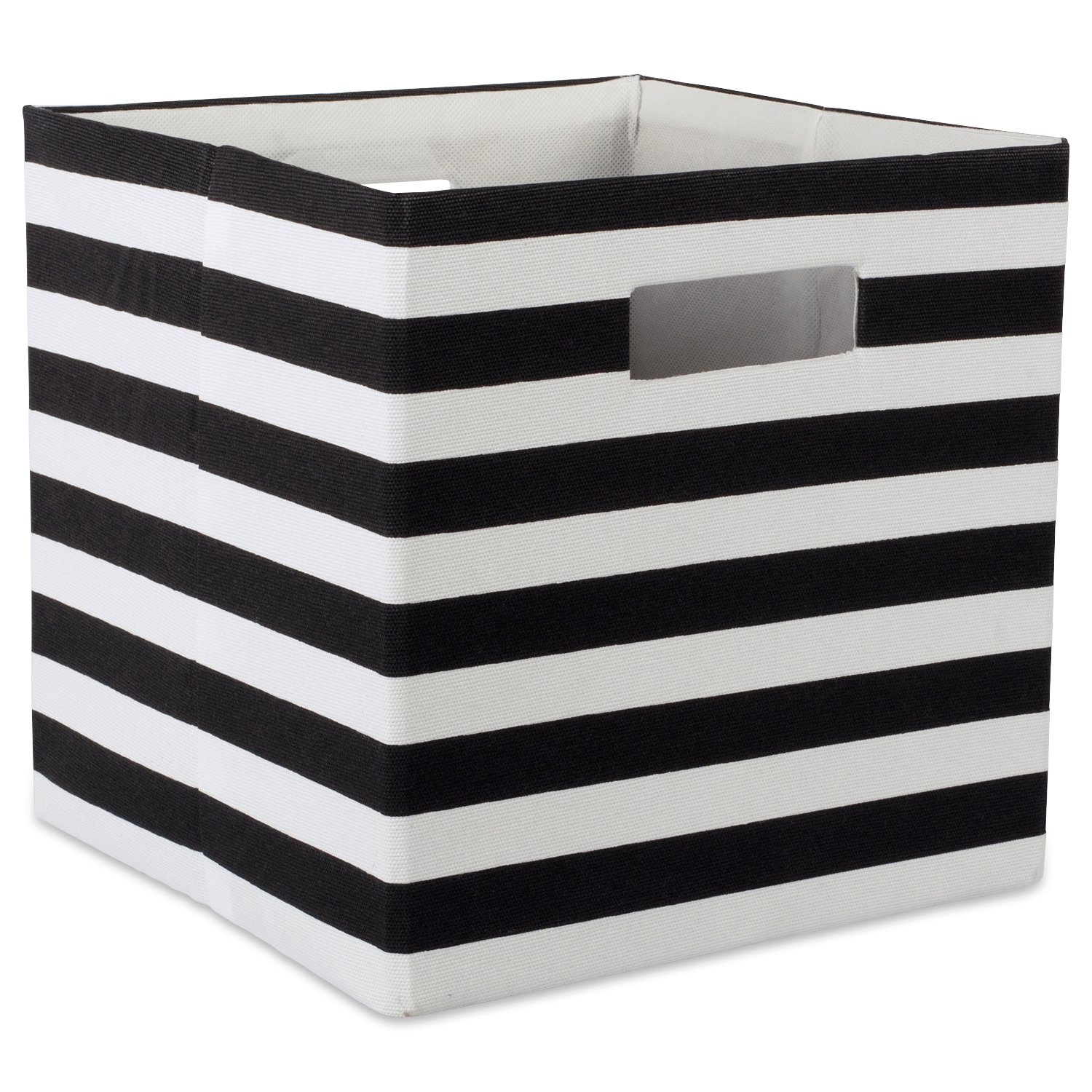 DII Foldable Fabric Storage Container for Nurseries, Offices, Closets, Home Décor, Cube Organizer & Everyday Use,  11 x 11 x 11, Stripe Black, Small