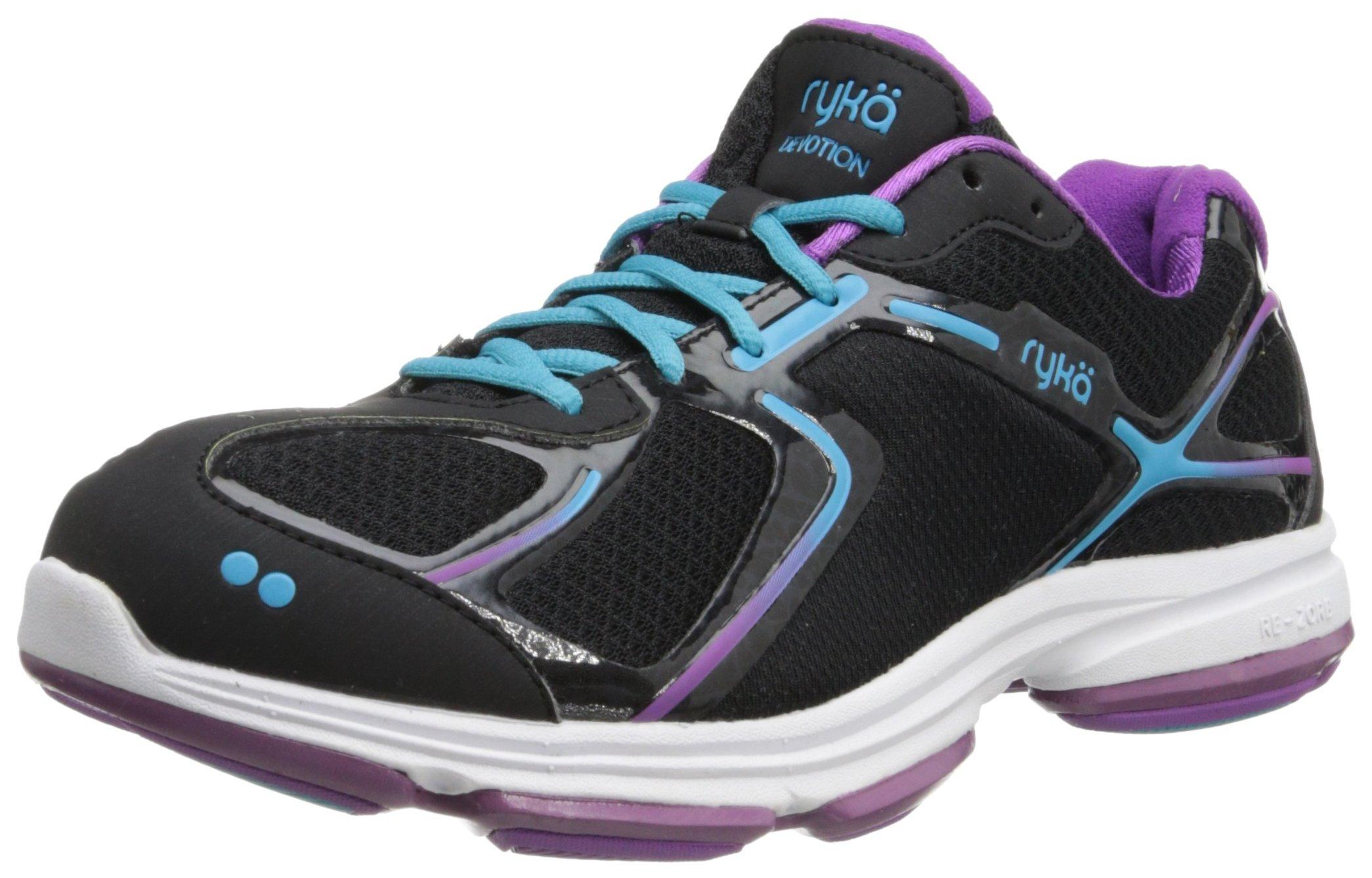 Ryka Women's Devotion Walking Shoe,Black/Dark Purple/Light Blue,8.5 M US