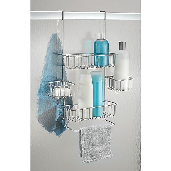 mDesign Estantería ducha sin taladro - Para encima de la puerta - Accesorios ducha sin tornillos para sus productos de higiene - Color: plateado: Amazon.es: ...